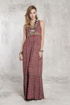Red print boho sari maxi dress | Vestido Erica Ropes