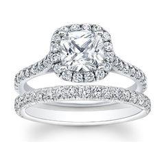 1.32 carat Cushion & Round Brilliant Cut Diamond Halo Engagement Bridal Ring Set in 14k White Gold Jewels By Royal http://www.amazon.com/dp/B00G6VEH3S/ref=cm_sw_r_pi_dp_aA8-ub1YNAKFF