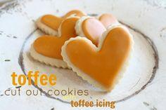 Toffee cortar las galletas con la receta del caramelo glaseado @ createdbydiane