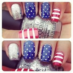 4th of July manicure #nails #nailart #stripes #polkadots #dots #silver #glitter #red #white #blue #summer #holiday #holidaynails #independenceday #america #mani