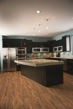 open kitchen room with warm comfortable cork canvas plank flooring the beautiful hardwood visuals