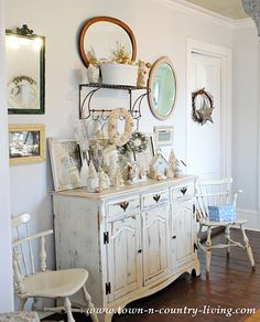 distressed off white buffet Farmhouse Dining Buffet Decorated for Christmas