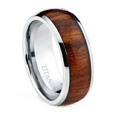 Titanium Wedding Ring Oliveti Men's Dome Titanium Ring with Real Santos Rosewood Inlay Comfort Fit Ring - Titanium Rings For Men, Titanium Metal, Men Rings, Titanium Jewelry, Band Engagement Ring, Wedding Ring Bands, Engagement Jewelry, Wedding Jewelry, Wood Inlay Rings