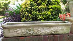 Vintage ORNATE FRENCH TROUGH Pot Planter Old Stone for plant garden balcony