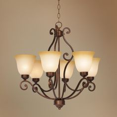Bronze Finish Iron Six Light Chandelier | LampsPlus.com