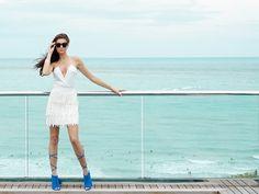 Into The Blue - Style Link Miami - Fashion Photo shoot - White Fringe Skirt