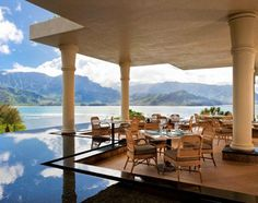 Kauai, Hawaii, United States, North America: restaurant with a stunning view of Hanalei Bay at the St. Regis Princeville Hotel on