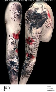 Simone Pfaff Volko Merschky Tattoo - Trash Polka Bird and Poppies