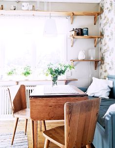 Small space solution, combined dining/ living area. #interiors #decor