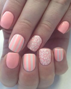 Feminine nails, flower nail art, Glossy nails, July nails, Manicure by summer dress, Nails with lines, Pastel nails, Sea nails