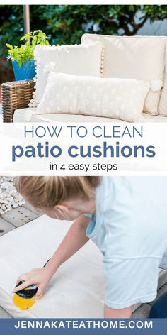 Outside Cushions, Outdoor Cushions And Pillows, Patio Chair Cushions, Diy Cleaning Products, Cleaning Solutions, Cleaning Hacks, Cleaning Supplies, Cleaning Recipes, Deep Cleaning