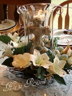 Easter Cross Centerpiece by dining delight, via Flickr