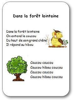Comptine illustrée Dans la forêt lointaine French Language Lessons, French Language Learning, French Education, Kids Education, French Poems, Great Song Lyrics, Core French, French Classroom, Teaching French