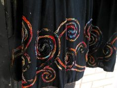 Chico's Black Skirt Gypsy Artsy Circle Size 0 Multi Color Bottom Edge Vintage at Quilted Nest Cute Modest Outfits, Swirl Design, Swirls, Solid Black, Nest, Gypsy, How To Look Better, Fabric, Color