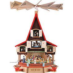 Adventshaus - eine wunderbare Art der Weihnachtspyramide. Traditionelle deutsche Winterdekoration