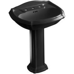 "Kohler K-2221-8 Portrait Vitreous China 27"" Pedestal Circular Bathroom Sink with Overflow and 3 Hole 8"" Widespread Faucet Drilling"