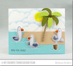 Beach Scene Builder Die-namics, Seaside Seagulls Stamp Set and Die-namics, Cloud Stencil - Barbara Anders  #mftstamps