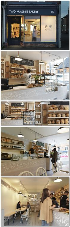 London firm Paul Crofts Studio has completed a #bakery on a high street in Suffolk, UK, with a motif based on a magpie's nest set into the douglas fir serving counter. #panaderia