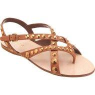 Miu Miu Studded Gladiator Sandal in Brown (tan)