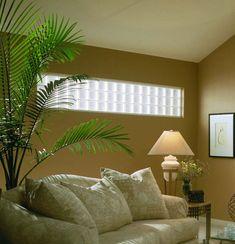 Comfort Livingroom With Glass Block Windows Glass Blocks Wall, Glass Block Windows, Block Wall, Basement Windows, House Windows, Borrowed Light, Wall Design, House Design, Glass Brick
