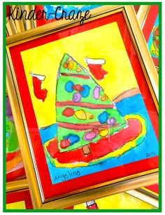 SO CUTE! Student-painted Christmas trees in a picture frame from the dollar store. GREAT PARENT GIFT!
