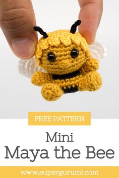 Free Maya the Bee Crochet Pattern by Supergurumi. This cute Maya the Bee is easy to crochet with a step by step description and many pictures. Visit Supergurumi for many more crochet Patterns Crochet Animal Amigurumi, Crochet Animal Patterns, Stuffed Animal Patterns, Amigurumi Doll, Crochet Animals, Amigurumi Patterns, Doll Patterns, Crochet Toys, Crochet Designs