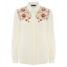 Jaeger Jaeger Silk Embroidery Blouse (£75) ❤ liked on Polyvore featuring tops, blouses, flower blouse, embroidery top, embroidered top, flower top and silk top