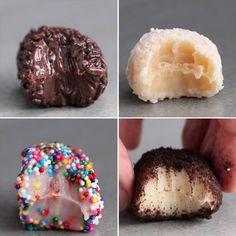 Brazilian Truffles (Brigadieros) 4 Ways (Baking Desserts Videos) Candy Recipes, Sweet Recipes, Baking Recipes, Dessert Recipes, Dishes Recipes, Recipes Dinner, Easy Desserts, Delicious Desserts, Yummy Food