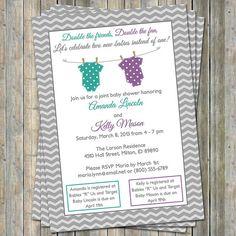 Joint Baby Shower Invitation polka dot by freshlysqueezedcards, $13.00