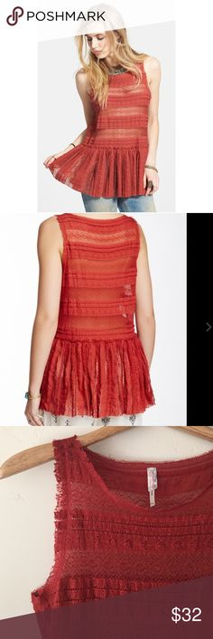 Free People Pucker Lace Tank Free People Intimately sleeveless romantic Pucker Lace tank in rusty red.  Unlined peplum hem falls low at the hip.  So pretty!  In excellent condition. Free People Tops