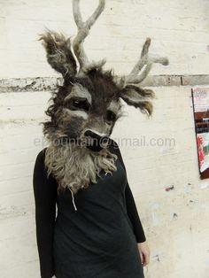 Stags head Mask for Lunar Festival Warwickshire UK
