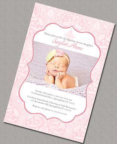 PERSONALISED CHRISTENING INVITATIONS PRAM /& HEARTS PACK OF 5 PINK BLUE LILAC