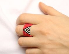 Modern geometric ring band for her Womens ring Beaded ring band Wide statement ring band Seed bead jewelry Peyote ring Flat band cigar ring Seed Bead Jewelry, Seed Beads, Beaded Jewelry, Unique Rings, Unique Jewelry, Beaded Rings, Boho Rings, Ring Finger, Stud Earrings