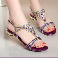 8e46fcce9e7cd8 Cool Ankle Strap Glitter Open Toe Rhinestone Summer Sandals. Rhinestone  SandalsPurple GoldFlatsFlat Sandals2017 SummerWomens High HeelsBeach  ShoesWomen s ...