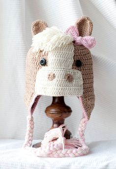 Click the image to get your Crochet Baby Horse Hat Pattern! Crochet Kids Hats, Crochet Beanie, Cute Crochet, Crochet Crafts, Yarn Crafts, Crochet Projects, Knitted Hats, Knit Crochet, Crochet Horse