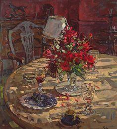 Susan Ryder. Sunlight & Dahlias (oil on canvas)