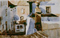 Andreas Vanpoucke 3 Maart 2012    http://youtu.be/HMs-ZhDLvs4  ' Caldas morning ' Algarve Portugal  Watercolour - Aquarelle et bistre - waterverf en bister 9,3 cm x 12,7 cm