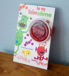 valentine's day slime card Idea