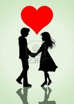 ilustración de una pareja cogidos de la mano con el símbolo del corazón en la parte superior Foto de archivo - 12137892