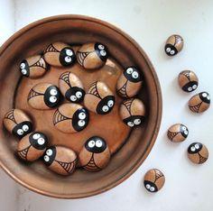 little brown beetles - painted rocks