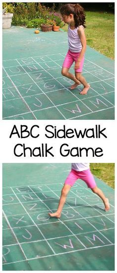 ABC Sidewalk Chalk Game: Practice the alphabet, letter recognition, spelling, gross motor skills, and more with this easy outdoor hopscotch letter game! ~ http://BuggyandBuddy.com
