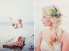 Castaway bridal shoot. Gorgeous floral headpiece.