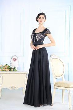 Chic black long evening dress......