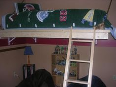 Hanging bed....looks so much easier than a loft bed!