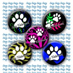 UPDATED IMAGES! INSTANT DOWNLOAD 1 Inch Paws Prints circles by SassyCraftsBoutique, $2.22
