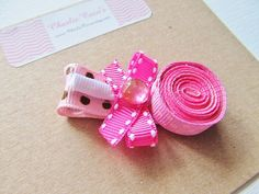 """Pink Sculptured Hair Bow for Baby Girls Toddler by CharlieCocos, $5.95  """"Pretty Pink Lollipop"""" Hair Bow Clip"""