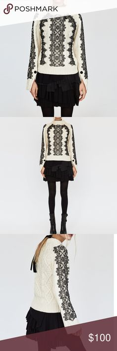 NWT ZARA Romantic Cable Knit Sweater with Lace New with tags! Worn by lots of bloggers! Zara Sweaters Crew & Scoop Necks