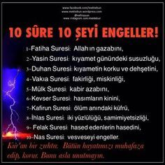10 sûre 10 şeyi engeller Suresi: Allah'ın gazabını, Sure. Famous Words, Allah Islam, My Prayer, English Quotes, Positive Life, Islamic Quotes, Good To Know, Beautiful Day, Karma