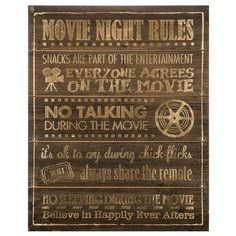 Movie Night Rules Wood Wall Theater Media Room Man Cave Wall Decoration *** Click image to review more details. (This is an affiliate link and I receive a commission for the sales)
