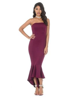 f123f014c7a6 AX Paris Women's Strapless Fishtail Dress at Amazon Women's Clothing store: